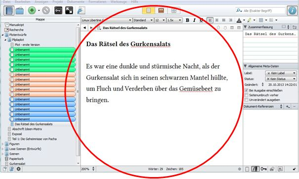 Screenshot Scrivener Editor