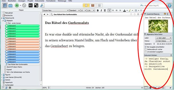 Screenshot Scrivener Inspektor